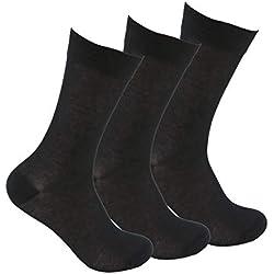 Calcetines de algodón (3 pares) SIN GOMA y SIN COSTURAS para pies delicados. Calcetines ejecutivos de algodón 100% con puño antipresión que reparte la presión. No se caen y evitan los roces.