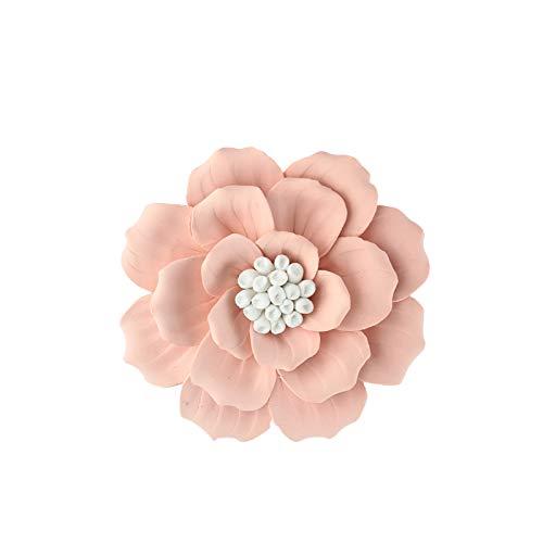 ALYCASO handgefertigte 3D Keramik Blume Wanddekoration TV Wanddekoration Home Decor für Schlafzimmer Wohnzimmer 4.7 in Orange -