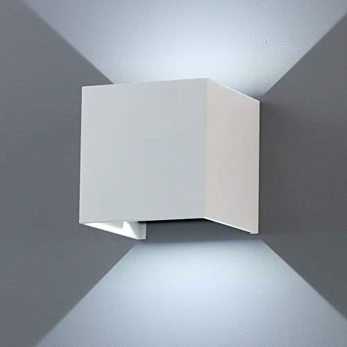 K-Bright LED Wandlampe Weiß Aluminiumgehäuse mit einstellbar Abstrahlwinkel Design NEU 12W Kalt weiß Gips Lampe Leuchte IP 65 - Ein K-lampe