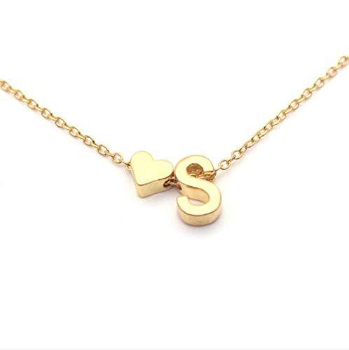 AK-Z Halskette Dame Brief Halskette Pfirsich herzförmigen Buchstaben Halskette Elegante Temperament Wilde Boutique 26 Buchstaben erste Herz (2 Stück),Gold D