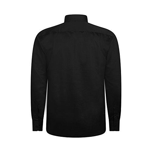 Robelli Herren Detail Plain Kleid Hemden/Hemd & Krawatte Kollektionen - Qualitäts Baumwolle oder Satin Style No. 8 - Black