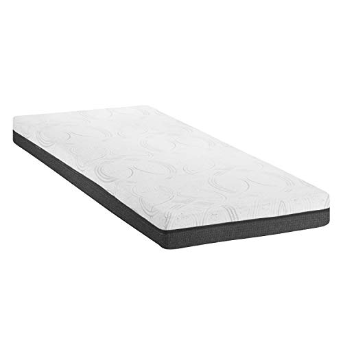 ABAKUHAUS Twin Size Mattress, Dual-Layered High-Density Foam and Soft Visco Memory Pads with Breathable Fabric Cover Jacquard Knitting Bed for Spine Stiffness, 90 cm Wide x 200 cm Long, White Grey