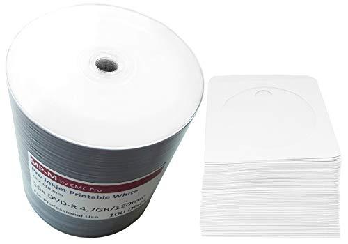 100 Bedruckbare DVD Rohlinge MP-Pro DVD-R 4,7GB 16x Wide Inkjet Printable weiß, vollflächig bedruckbar für Tintenstrahldrucker + GRATIS 100 CD Papierhüllen mit Folienfenster (Dvd-r Bedruckbar)