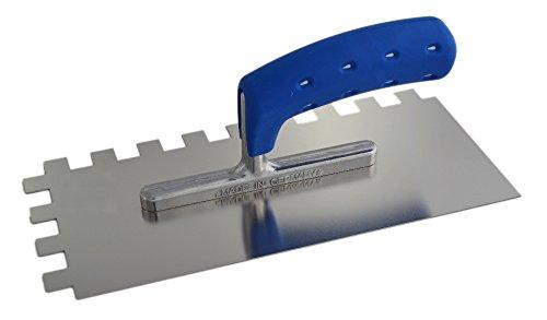 TREBI Profi Edelstahl-Glättekelle gezahnt rostfrei Softgriff blau 15 x 15 x 15 mm