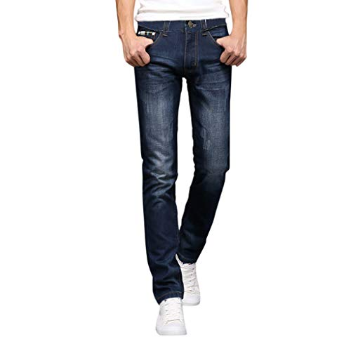 Wash Designer Jeans (Madmoon Herren Designer Denim Jeans Slim-Fit Stretch Denim Hosen Wash Jeanshose Business Freizeit Büro - Hochwertige Jeans-Hose Sommer Washed Gerade geschnittene Hose)