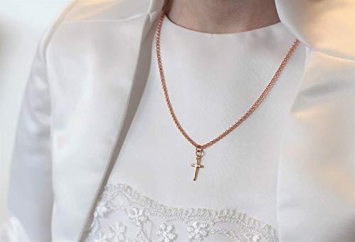 Halskette rose vergoldet Anhänger Kreuz filigran rosegold farben Kette Kommunion Kreuzkette Kommunionskreuz Kommunionsgeschenk Taufe