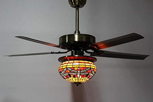 Einzelkopf Tiffany-Stil Deckenventilator Licht, Glasmalerei Rot Grün Libelle Lampenschirm Pendelleuchte für Restaurant Schlafzimmer Retro Fan Kronleuchter,B