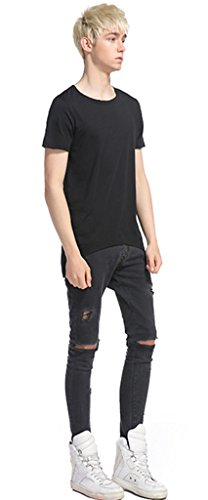 Whatlees Herren Urban Basic reguläre Passform Langes T-shirt mit unversäuberte Kanten Design und abfallendem Saum hinter B488-Black