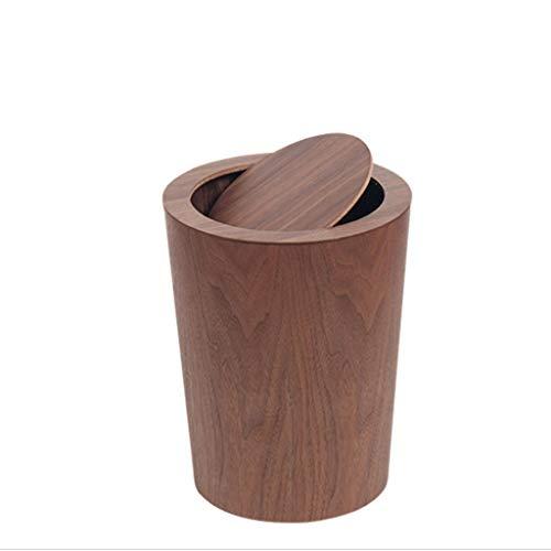 Zlw-shop Secchi per la spazzatura Creative Large Wooden Trash Can Home Soggiorno Camera Office Hotel Trash Can 12L (Color : Brown)