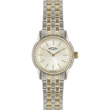 Rotary-Reloj de pulsera analógico para mujer (tamaño XS cuarzo, revestimiento de acero inoxidable LB02571/03L
