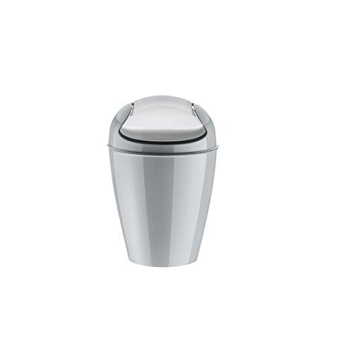 koziol Schwingdeckeleimer 0,9 L Del XXS,  Kunststoff, solid cool grey, 12,7 x 12,7 x 18,7 cm