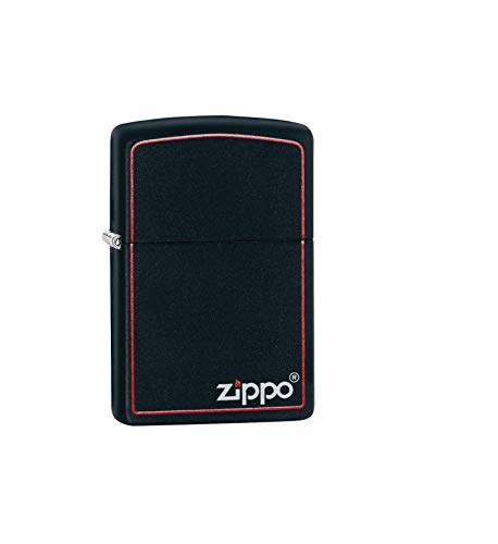 Zippo Original Feuerzeug Black Matte with Border & Logo