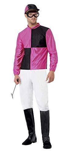 Smiffys Herren Jockey Kostüm, Hose, Überstiefel, Helm und Schutzbrille, Größe: L, - Jockey Kostüm Kind