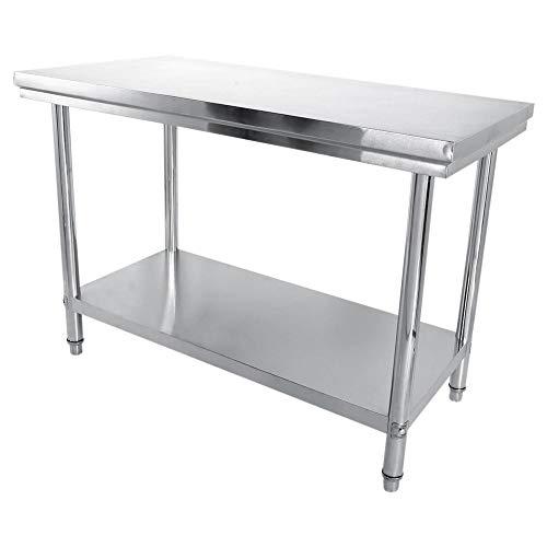 0,6 Edelstahltisch Edelstahl Arbeitstisch Küchentisch Zubereitungstisch Gastro Tisch für Küche Bar Restaurant, 120 * 85 * 60cm