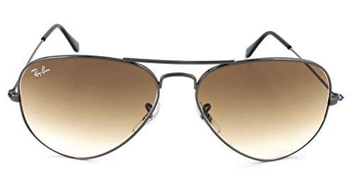 Ray Ban Unisex Sonnenbrille Aviator, Gr. Large (Herstellergröße: 58), Grau (grau 004/51, Gläser: kristall braun verlauf)