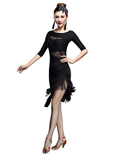 besbomig Damen Tanzkleid Sexy dünne Spitze Tops und Quasten Latein Dance Rock - Ballsaal Salsa Samba Tango Jazz Wettbewerb Dancewear