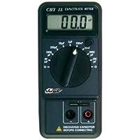 Veka - Capacímetro LCD, 200 pF a 20 mF en 9 escalas, resolución 0,1 pF, con cables y pinzas