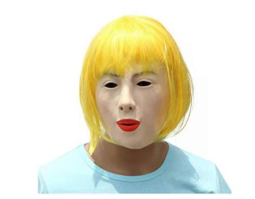 Schlafen Schönheit Kostüm - Halloween Weibliche Latex Maske Blonde Schönheit Perücke Kostüm Maske Maskerade Party Kopf Maske,A,A
