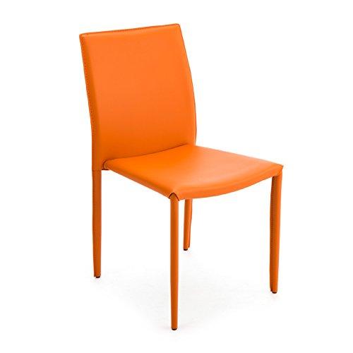 designement Anne Chaise Empilable Acier Orange 54 x 43 x 87 cm
