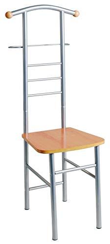 HAKU Möbel 80788 Herrendienerstuhl 46 x 50 x 119 cm, alu / buche