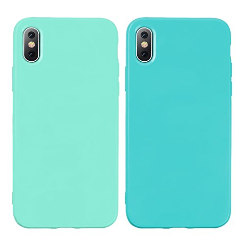 Yokata 2 x iPhone X Hülle Weiche Silikon Handyhülle Candy Stil Motiv Schutzhülle Einfarbig Jelly TPU Handy Tasche Schale Etui Weich Silicone Bumper Ultra Dünn Slim Matte Schlank Handytasche Premium Kratzfest Soft Flexible Clear Backcover Schutz für Apple iPhone X / iPhone 10 5.8 Zoll 2017 Case Cover - Shallow Grün + Grün
