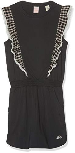 Scotch & Soda R´Belle Mädchen Kleid Jersey Dress with Woven Ruffle Details Schwarz (Antra 005) 128 (Herstellergröße: 8)