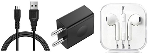 AC Accessories Best Combo of Wired Earphone with charger and data cable compatible For Xiaomi Redmi Note 4G and all Smartphones(Black or White)