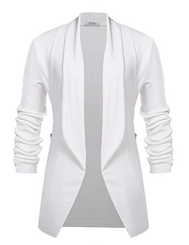 Unibelle Blazer Damen Elegant Tailliert Lang Cardigan Casual Jacke Blazer Slim Fit Anzug Trenchcoat Weiß XXL