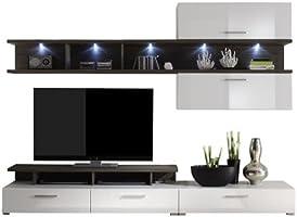 Maisonnerie 1242-947-11 Design Laser Ensemble Meuble TV Blanc Ultrabrillant/Gris LxHxP 250 x 17 x 47 cm