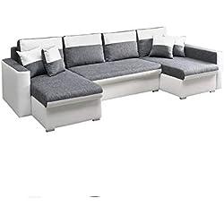 mb-moebel große Ecksofa Sofa Eckcouch Couch mit Schlaffunktion und DREI Bettkasten Ottomane U-Form Schlafsofa Bettsofa - Berlin U (Ecksofa Rechts, Weiß)