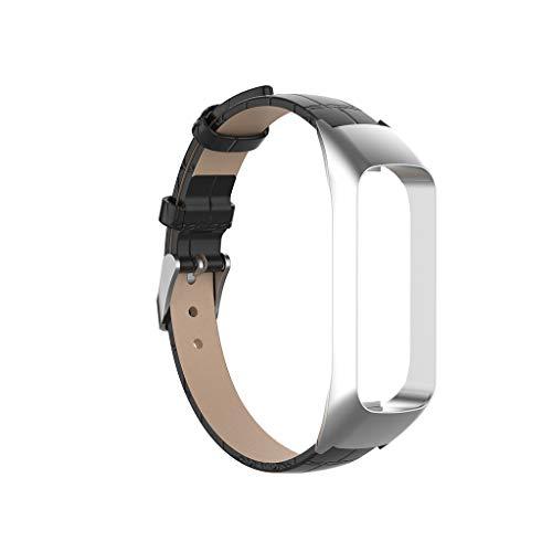 Bearbelly Armband Kompatibel mit Samsung Galaxy fit-e SM-R375 Textur Reine Farbe Leder Sport Business Ersatz Uhrenarmband Klassisches Uhrenarmband Herren Damen Kettenriemen (2 Für Cricket Galaxy Samsung)