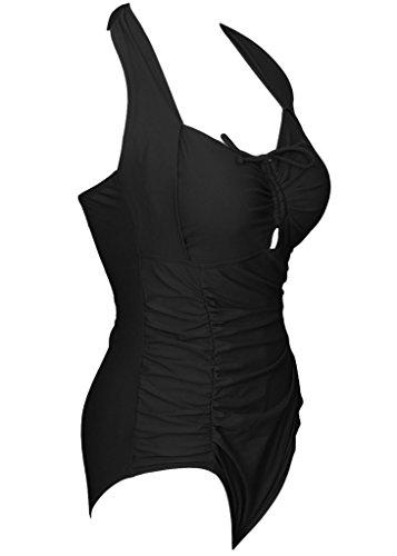 Figurumspielender Triangel Badeanzug Damen Raffnierte Bandeau Badebekleidung Push Up Monokini Retro Übergroße Bademode Schwarz