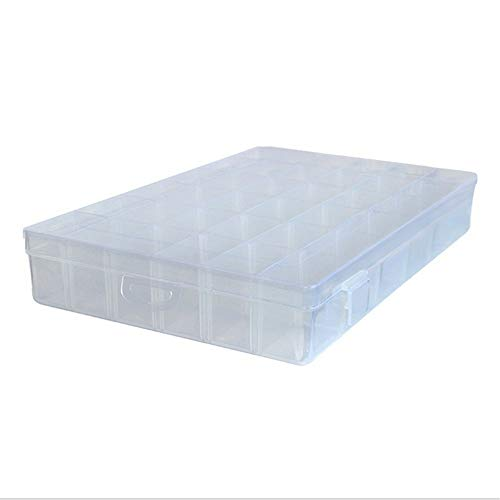 FIONAT Schmuckkästchen Aufbewahrungsbox Abnehmbarer Kunststoff Transparent Kreative Fach Ohrringe Halskette Schmuckschatulle 27,3 * 17,5 * 4,3 cm, Weiß