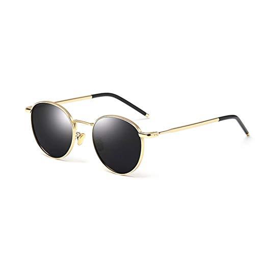 YONGYONG-Sunglasses Sonnenbrille Flut Polarisiert Antreibende UV-Brille Kleines Gesicht Rund Retro Harajuku Stil Sonnenbrille Damen (Farbe : Gold)
