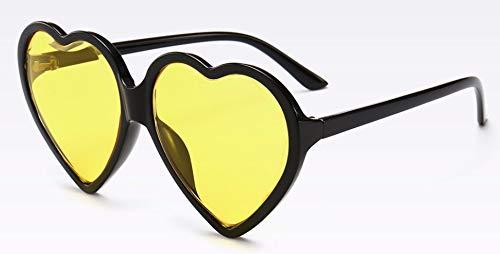 WSKPE Sonnenbrille Liebe Herz Sonnenbrille Frauen Cat Eye Sonnenbrille Weihnachten Frauen Fahren Uv400 Schwarzen Rahmen Gelbe Linse (Retro Cat-eye-rahmen Ban Ray)
