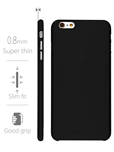MyGadget TPU Silikon Hülle für - Apple iPhone 6 Plus / 6s Plus - ultra dünn (1 mm) inkl. Staubschutz Gummi Schutzhülle Cover Crystal Case Silikonhülle in Transparent Hartplastik Schwarz