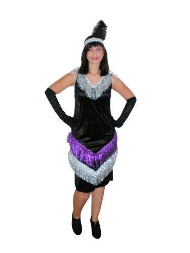 Charlestonkleid Anna, Kostüm Damen (42, schwarz)