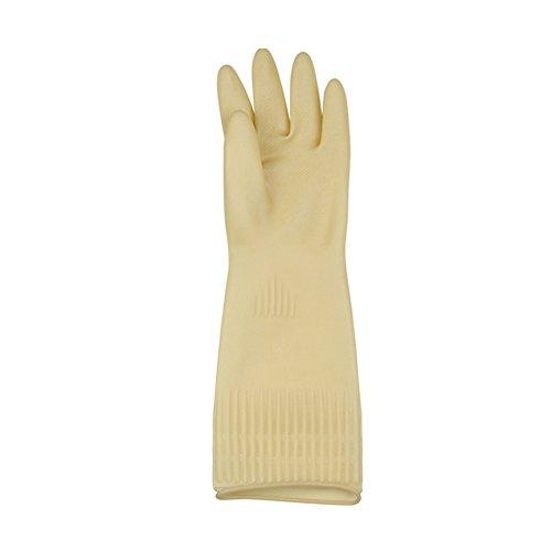 Sforza Latex Freie Handschuhe, wasserdichte Haushalts Gummihandschuhe für die Waschküche und Industrielle Reinigung - Beige/L
