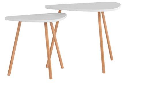 Photo Gallery homfa tavolino divano di caffè in mdf bianco, set di 2 tavolini bassi da salotto in legno di disegno elegante