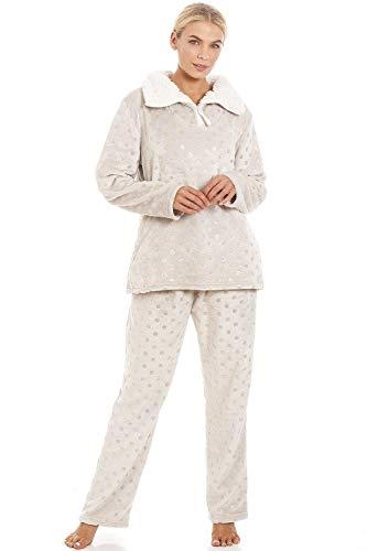 Ensemble de Pyjama en Polaire Ultra Douce col Montant Motifs à Pois - doré/Gris 42/44