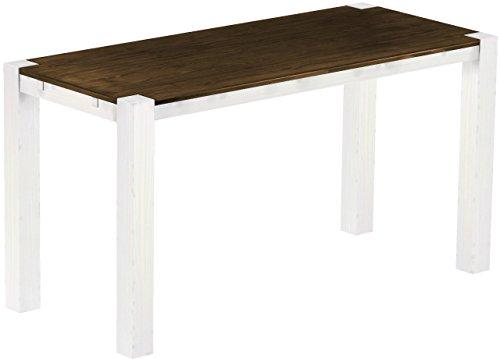 Brasil Meubles Haut Table 'Rio Kanto' 208 x 90 x 109 cm, Pin Parasol Bonito Bois Massif, Teinte chêne Antique Blanc