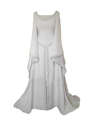 Damen Langarm Mittelalter Kleid Gothic Viktorianischen Königin Kostüm V-Ausschnitt Prinzessin Renaissance Bodenlänge Mehrfarbig Kleider Weiß M