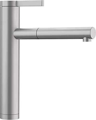 Blanco Linee-S, Küchenarmatur - Einhandmischer, exklusiver Wasserhahn mit ausziehbarer Brause, Massiv-Edelstahl in Seidenmatt-Finish, Hochdruck, 1 Stück, 517593 -