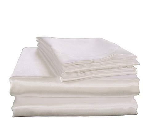 Betten Emporium 100% Pure Seide Bettlaken aus Satin Set 7, Seide Spannbetttuch 38,1cm Tief Tasche, Seide Bettlaken, Seide Bettbezug und Kissenbezüge Set. Full Weiß (Full-satin Bett-sets)