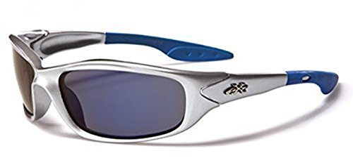 Enfants X-Loop (Garçons / Filles) enroulé Confort Lunettes De Soleil Sport Offre Complète UV400 Protection Approprié 4-10 An 7 Couleurs - Silver-Blue / Mirror Lens