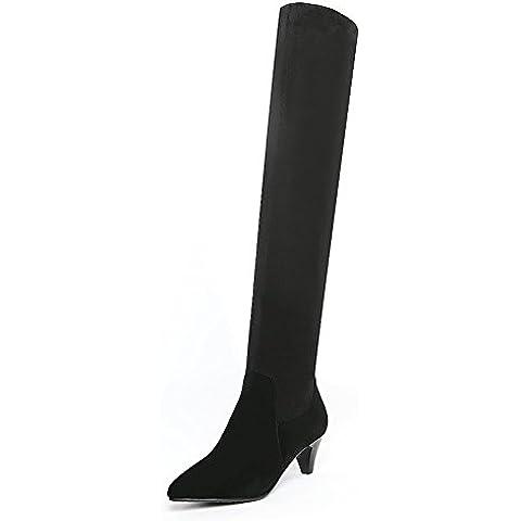 moda stivali a punta/ tacco alto stivali sopra il ginocchio/Skinny elasticizzato alto stivali donna pelle (Classic Short Pelle Di Pecora)