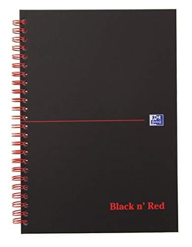 Oxford 400047652 Spiralbuch Black n' Red A5 kariert mattes Hardcover 70 Blatt schwarz/rot Notizblock Schreibblock Collegeblock (Oxford Notizbuch Kariert)