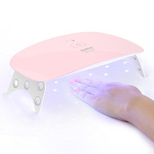 Secador de Uñas,Kapmore 15 LED UV Nail lámpara con Portable Timer Gel Nail Dryer para Uñas y Uñas de los pies, Curado LED GEL Esmalte Profesional, Sencor (Blanco) (Pink)