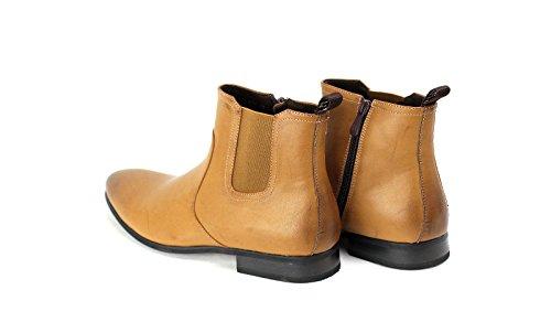 Uomo Stivaletti Chelsea Slip On + abito con zip scarpe eleganti misura UK 6 7 8 9 10 11 Marrone