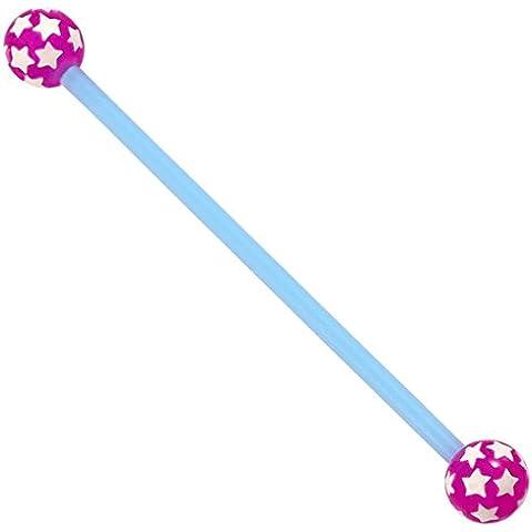 Bioflex de andamio Industrial con barra Multi Star acrílico de bolas de. Azul eje con morado Star de bolas de. Tamaño 1,6 x 34 mm.